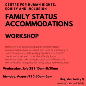 Family Status Accommodations @ York University @ Zoom